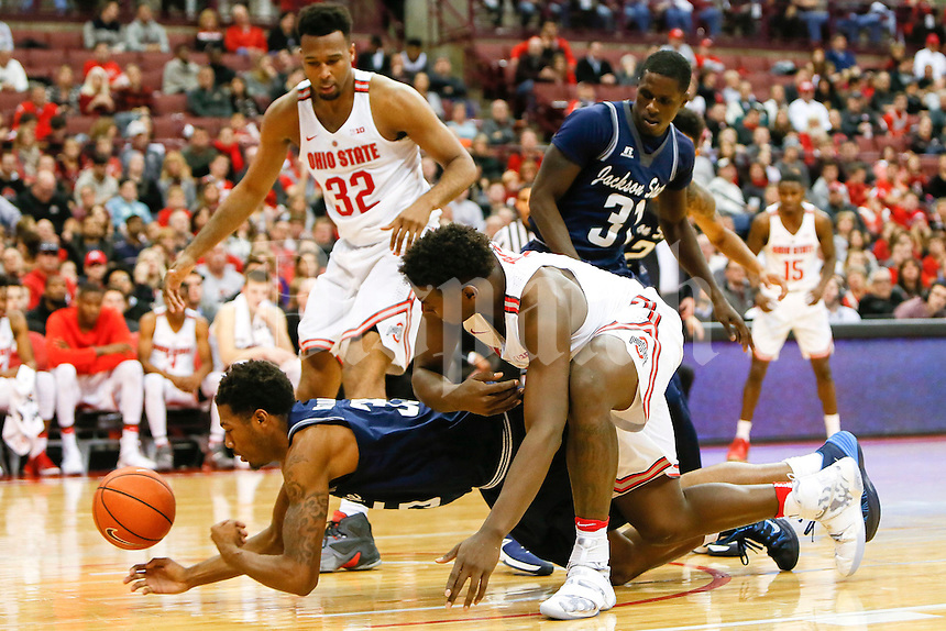 Jackson State Tigers forward Janarius Middleton (35) recovers the ball during the second half of The Ohio State University's game against Jackson State University at the Schottenstein Center on the evening of Wednesday, November 23, 2016. (Dispatch photo by Tyler Stabile)