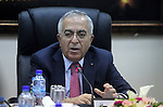 Palestinian Prime Minister, Salam Fayyad, chairs a meeting of the Palestinian Council of Ministers in the West Bank city of Ramallah April 16, 2013. Photo by Issam Rimawi