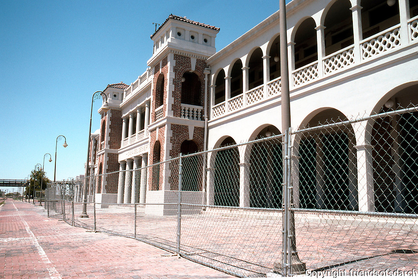 Barstow CA: Santa Fe Depot, Facade.  The west portion is a Greyhound depot. Amtrak trains also stop.