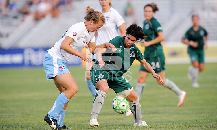 Sara Walsh (green), Nikki Krzysik. St. Louis Athletica defeated Chicago Red Stars 2-0 on August 5th, 2009.