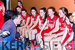 St Marys coach Tommy Connor gives his players instructions as the their game goes into over against Kerry Green in the U14 Girls final at the St Marys Christmas basketball blitz in Castleisland on Friday