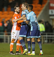 Blackpool's Mark Yeates shakes hands with Wycombe Wanderers' Garry Thompson and Paris Cowan-Hall after the game<br /> <br /> Photographer Alex Dodd/CameraSport<br /> <br /> Checkatrade Trophy Round 3 Blackpool v Wycombe Wanderers - Tuesday 10th January 2017 - Bloomfield Road - Blackpool<br />  <br /> World Copyright &copy; 2017 CameraSport. All rights reserved. 43 Linden Ave. Countesthorpe. Leicester. England. LE8 5PG - Tel: +44 (0) 116 277 4147 - admin@camerasport.com - www.camerasport.com