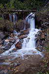 Snowmelt forming many small waterfalls along Hwy 3 in BC Canada