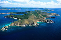 Aerial view of Norman Island home of the popular attraction &quot;The Caves&quot; and rumored to be the site of Robert Louis Stevenson's Treasure Island<br />