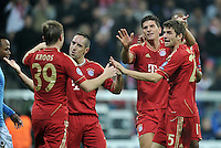 FUSSBALL   CHAMPIONS LEAGUE   SAISON 2011/2012     02.11.2011 FC Bayern Muenchen - SSC Neapel JUBEL nach dem Tor Toni Kroos,  Franck Ribery , Mario Gomez , Thomas Mueller  (v. li., FC Bayern Muenchen)