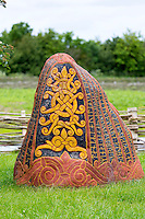 Historic traditional rune stone at Ribe Viking Center heritage centre in South Jutland, Denmark