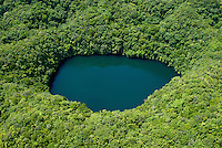 Palau Oct 2007 Aerial of one of the secret jellyfish lakes, not accessiable for Tourist, protected and conservation area.Palau Micronesia