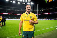 Leroy Houston of Australia poses for a photo after the match. The Rugby Championship match between Argentina and Australia on October 8, 2016 at Twickenham Stadium in London, England. Photo by: Patrick Khachfe / Onside Images