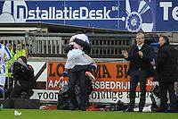 VOETBAL: HEERENVEEN: Abe Lenstra Stadion, 09-12-2012, Eredivisie 2012-2013, SC Heerenveen - Roda JC, Eindstand 4-4, Sven Kums (SCH), Marten de Roon (SCH), Rajiv van La Parra bespringt Marco van Basten (trainer/coach) na de 2-1, Henk Herder (assistent-trainer), Herman van Dijk (teammanager), ©foto Martin de Jong