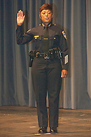 Former Inglewood Police Chief Jacqueline Seabrooks swears in as the new Santa Monica Police Chief at the Santa Monica Civic  Auditorium on Tuesday, May 29, 2012. ..Seabrooks is the first female and 16th Chief of the Santa Monica Police Department.