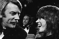 10 Apr 1972, Los Angeles, California, USA. American Actress Jane Fonda, upon hearing her name as Best Actress in a Leading Role for Alan J. Pakula's film Klute (1971), shares her joy with her Canadian co- star, Donald Sutherland.