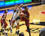 Ole Miss' Monique Jackson (42) vs. Alabama's Kaneisha Horn (40) in NCAA women's basketball action in Oxford, Miss. on Sunday, January 13, 2013.  Alabama won 83-75.