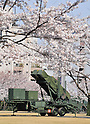 "April 8, 2012, Tokyo, Japan - Units of Patriot Advanced Capability-3 or better known as PAC-3, a land-based system of interceptor missiles, are deployed at the Defense Ministry in Tokyo on Sunday, April 8, 2012, in preparation for a planned North Korean rocket launch. The interceptors would be ready to shoot down any parts of the rocket that veer into Japan's airspace. North Korea's ""Unha-3"" rocket is expected to fly over western Japan, including part of Okinawa, after it is launched from a pad on North Korea's west coast between April 12 and 16. (Photo by AFLO) QUB -mis-"