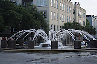 "If you visit Charleston during the ""steamy summer"", you just might want to take a breather here at the Pineapple Fountain at the Waterfront Park. If you have little ones with you, they will love the cooling effect of the fountain's spray units."
