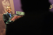 Prime Minister Tony Blair speaks at the Labour Party conference, held in Glasgow, Scotland, on 15th February 2003. The same day massive anti-Iraq war peace protests were held throughout Britain, with the general public opposing the imminent invasion of Iraq.