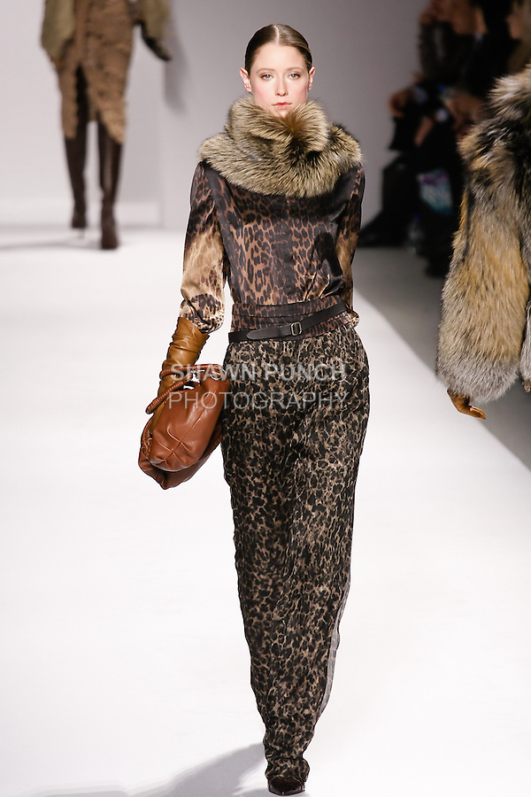 Fabiana Mayer walks runway in an outfit from the Elie Tahari Fall 2011 collection, during Mercedes-Benz Fashion Week Fall 2011.