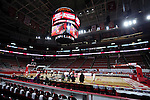 25 January 2015: A wide view of the PNC Arena set up for NC State basketball. The North Carolina State University Wolfpack played the University of Notre Dame Fighting Irish in an NCAA Division I Men's basketball game at the PNC Arena in Raleigh, North Carolina. Notre Dame won the game 81-78 in overtime.