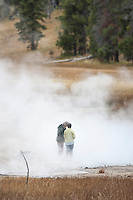 Researchers in thermal area of Yellowstone National Park
