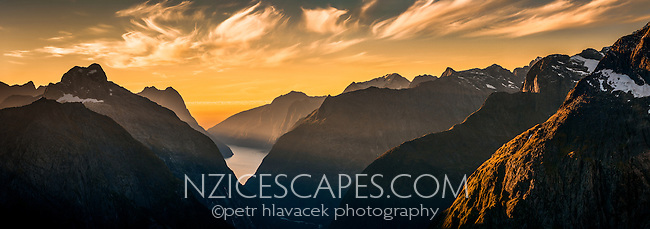 Sunset over Milford Sound from Gertrude Saddle, Fiordland National Park, Southland, UNESCO World Heritage Area, New Zealand, NZ