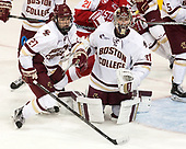Graham McPhee (BC - 27), Joe Woll (BC - 31) - The visiting Boston University Terriers defeated the Boston College Eagles 3-0 on Monday, January 16, 2017, at Kelley Rink in Conte Forum in Chestnut Hill, Massachusetts.
