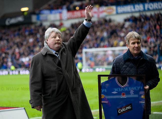 War Hero Simon Weston takes the applause from the Rangers fans at Ibrox