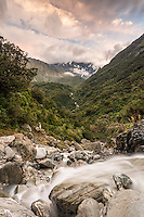Wild Tekano Creek near Douglas Rock Hut in Copland Valley at pastel sunrise, Westland National Park, West Coast, South Westland, World Heritage Area, New Zealand