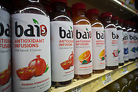Bottles of Bai brand antioxidant infusion juice drinks are seen on a supermarket shelf on Wednesday, August 22, 2012. (© Richard B. Levine)