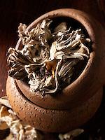 Dried  Maitake mushrooms stock photos