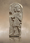 Late Hittite Basalt funereal Steel with a relief sculpture of a warrior from 9 - 8th Cent B.C, excavated from Arslan Tash (Turkish; Arslan Lion, Ta Stone), ancient Hadtu, is an archaeological site in northern Syria 30km east of the Euphrates River and nearby the town of Ain al-Arab. Istanbul Archaeological Museum Inv. No 1981.