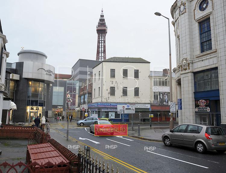 Coronation Street retail units and the Galleon awaiting demolition Blackpool Lancashire UK......© Phill Heywood.