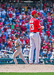 21 June 2015: Washington Nationals pitcher Felipe Rivero stands on the mound after serving up a 2-run homer to the Pittsburgh Pirates in the 9th inning at Nationals Park in Washington, DC. The Nationals defeated the Pirates 9-2 to sweep their 3-game weekend series, and improve their record to 37-33. Mandatory Credit: Ed Wolfstein Photo *** RAW (NEF) Image File Available ***