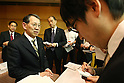 Apr. 27, 2010 - Tokyo, Japan - Toshishige Hamano, Representative Directors and Executive Vice Presidents of Sharp, answers journalists' questions during a press-conference in Tokyo, on April 27, 2010. The Osaka-based electronics company said it expects Y52bn ($554m) operating profit, reversing a Y55bn operating loss last year, and Y4.4bn in net income, thanks of growing demand for its 3D liquid crystal display panels.