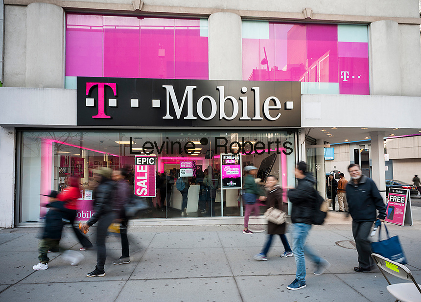 A T-Mobile mobile phone store in Downtown Brooklyn in New York on Saturday, February 25, 2017. (© Richard B. Levine)