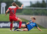 Boyds, MD - Saturday May 20, 2017: Shelina Zadorsky and Lo'eau Labonta during a regular season National Women's Soccer League (NWSL) match between the Washington Spirit and FC Kansas City at Maureen Hendricks Field, Maryland SoccerPlex.