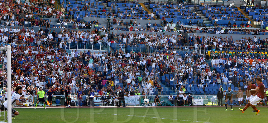 Calcio, Serie A: Roma vs Lazio. Roma, stadio Olimpico, 22 settembre 2013.<br /> AS Roma forward Adem Ljajic, of Serbia,  right, scores on a penalty kick during the Italian Serie A football match between AS Roma and Lazio, at Rome's Olympic stadium, 22 September 2013. AS Roma won 2-0.<br /> UPDATE IMAGES PRESS/Riccardo De Luca