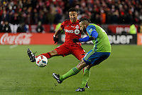 Toronto, ON, Canada - Saturday Dec. 10, 2016: Justin Morrow, Tyrone Mears during the MLS Cup finals at BMO Field. The Seattle Sounders FC defeated Toronto FC on penalty kicks after playing a scoreless game.