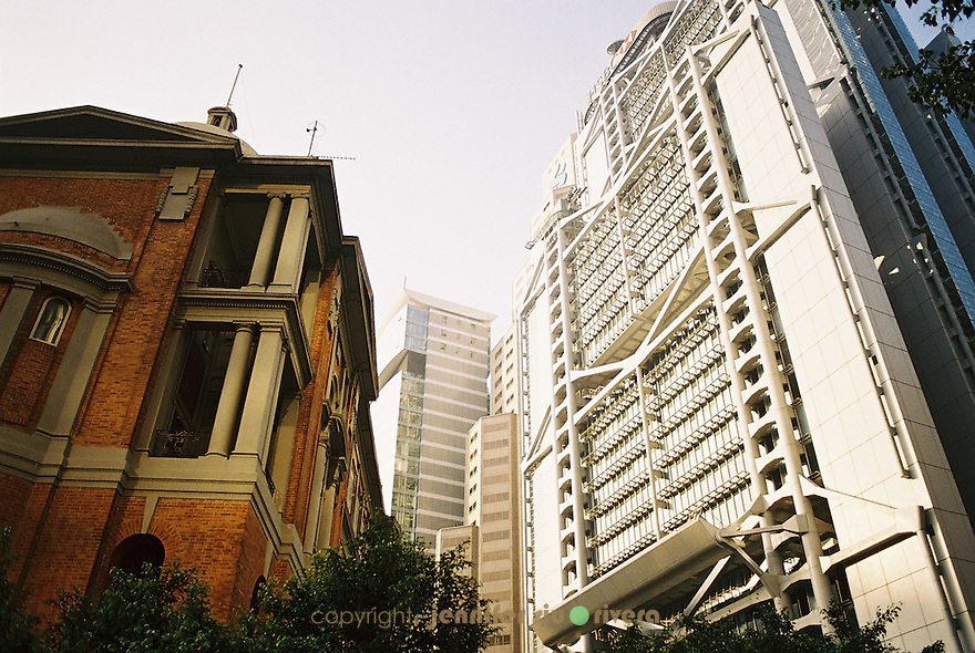 historic courthouse vs. the futuristic Hong Kong and Shanghai Bank.