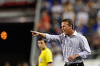 Philadelphia Union head coach John Hackworth. The New York Red Bulls and the Philadelphia Union played to a 0-0 tie during a Major League Soccer (MLS) match at Red Bull Arena in Harrison, NJ, on August 17, 2013.