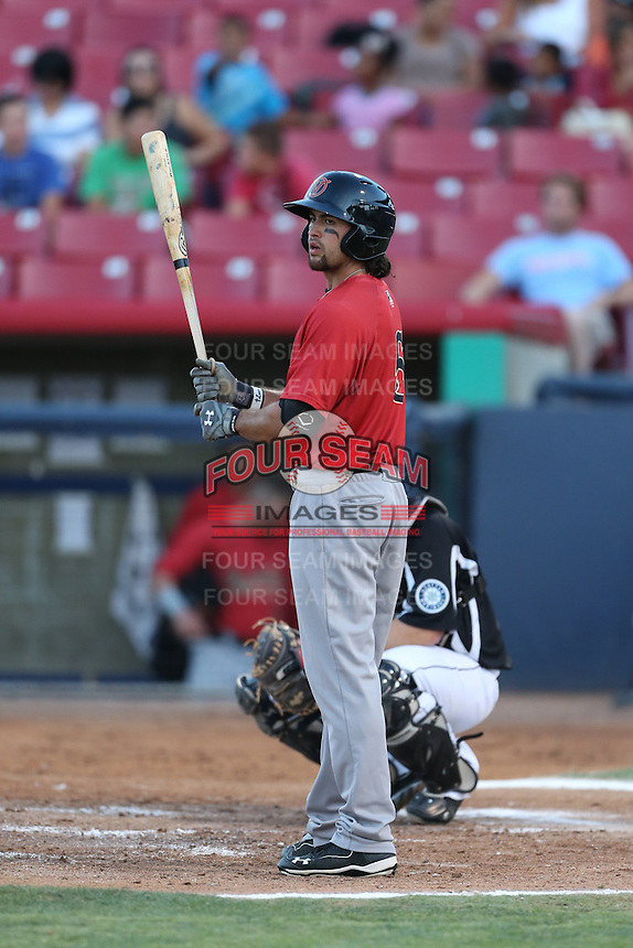 Breland Almadova #5 of the Visalia Rawhide bats against the High Desert Mavericks at Heritage Field on July 19, 2014 in Adelanto, California. Visalia defeated High Desert, 10-9. (Larry Goren/Four Seam Images)