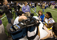 Spencer Ware of LSU talks with the reporters during BCS Media Day at Mercedes-Benz Superdome in New Orleans, Louisiana on January 6th, 2012.