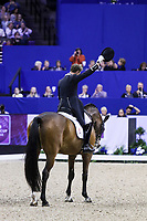 OMAHA, NEBRASKA - MAR 30: Carl Hester tips his hat after his ride during the FEI World Cup Dressage Final II at the CenturyLink Center on April 1, 2017 in Omaha, Nebraska. (Photo by Taylor Pence/Eclipse Sportswire/Getty Images)