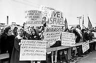 01 Mar 1970 --- Demonstrators in New York City protest the French government's sale of 100 Mirage fighter jets to Muammar al-Qaddafi's regime in Libya. --- Image by © JP Laffont