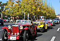 November 27, 2011, Tokyo, Japan - A 1948 MG TC Midget leads the way during the fifth Classic Car Festa 2011 in Tokyo on Sunday, November 27, 2011. Some 43,000 spectators watch about 100 domestic and foreign classic and vintage cars parade the gingko-lined streets of the Meiji Shrines Outer Garden in the annual open-air exhibition and parade sponsored by Toyota Automobile Museum. (Photo by Natsuki Sakai/AFLO) [3615] -mis-