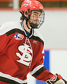 George Hughes (St. Lawrence - 15) - The Harvard University Crimson defeated the St. Lawrence University Saints 4-3 on senior night Saturday, February 26, 2011, at Bright Hockey Center in Cambridge, Massachusetts.