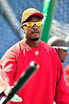22 April 2010: Washington Nationals' center fielder Willie Harris awaits his turn in the batting cage prior to a game against the Colorado Rockies at Nationals Park in Washington, DC. The Nationals were shut out by the Rockies 2-0 closing out their series with a 2-2 game split. Mandatory Credit: Ed Wolfstein Photo