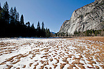 Winter scenes in Yosemite Valley located in the Yosemite National Park..A winter meadow in the Yosemite Valley..