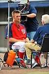 7 March 2012: Washington Nationals pitcher Stephen Strasburg is interviewed by Peter Gammons prior to a game against the St. Louis Cardinals at Space Coast Stadium in Viera, Florida. The teams battled to a 3-3 tie in Grapefruit League Spring Training action. Mandatory Credit: Ed Wolfstein Photo