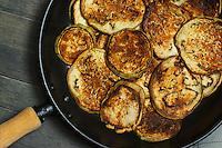 Pan Roasted Eggplant Slices in Black Metal Pan
