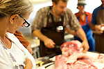 The Northwest Meat Collective teaching a class on the charcuterie method of butchering a whole pig
