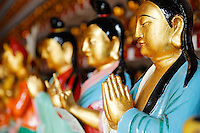 Praying figurines in main hall of the Ten Thousand Buddhas temple, Sha Tin, New Territories, Hong Kong SAR, People's Repbulic of China, Asia